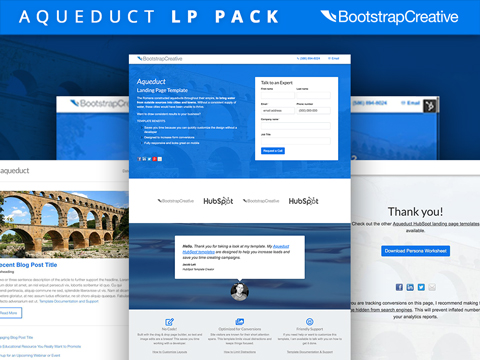 hubspot landing page pack aqueduct