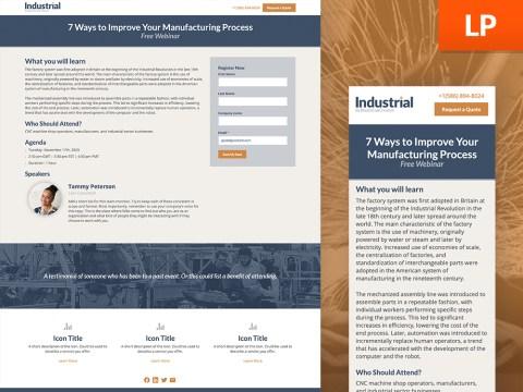 Industrial Webinar Landing Page Template HubSpot