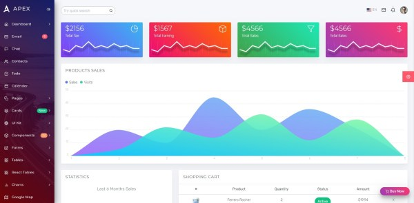 apex react admin template