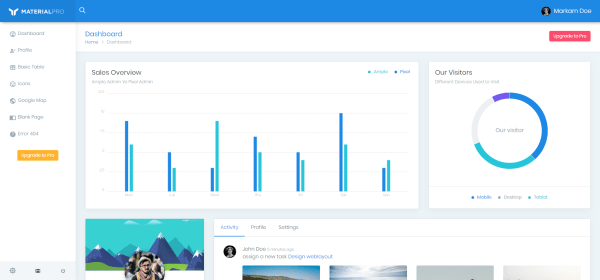 material pro lite in free bootstrap admin templates