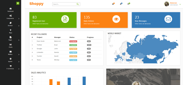 shoppy in free bootstrap admin templates