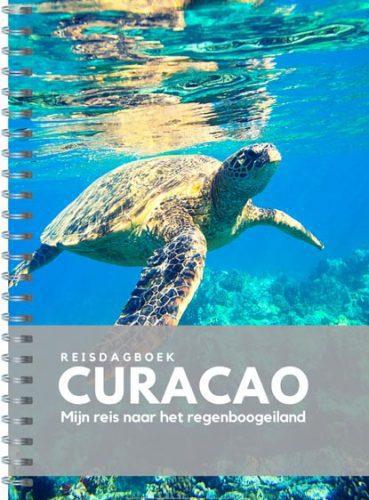 Voorzijde van het reisdagboek Curaçao met een grote zeeschildpad
