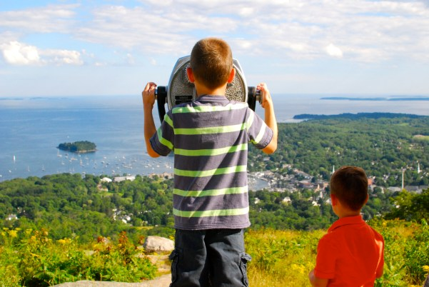 Taking in the views of Camden Harbor from the top of Mt. Battie in Camden Hills State Park