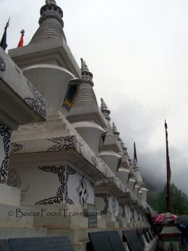Stupas outside Shuzheng Village in Jiuzhaigou