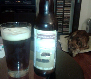 Really Old Brown Dog ale and a sleeping dog on the floor