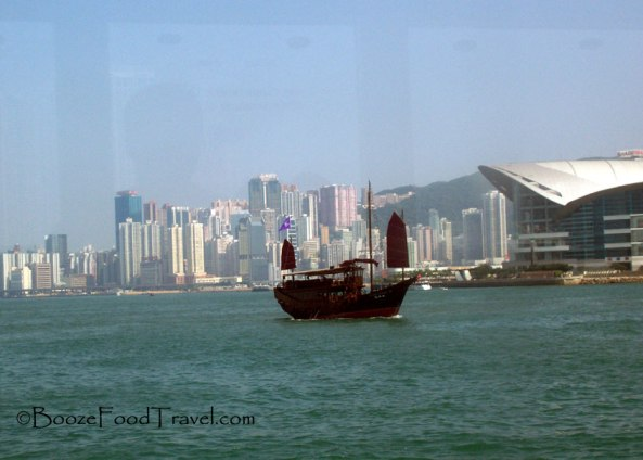 A junk tour boat as seen from the Star Ferry