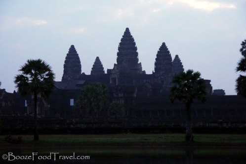 The view of Angkor Wat for a disappointing, cloudy sunrise