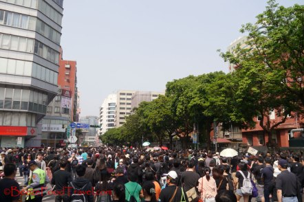 Protesters marching down the street outside Peace Park