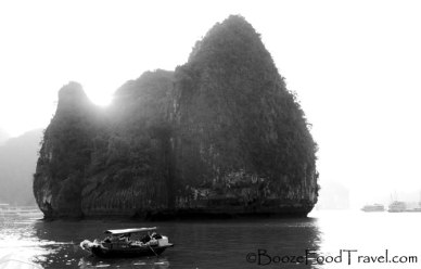 halong-bay-sunset-b&w
