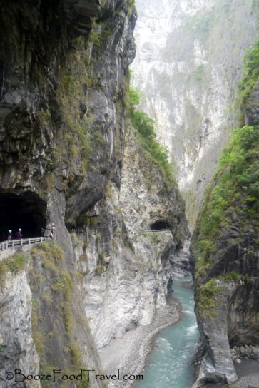 Roads running through the mountainside at Taroko