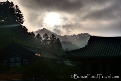 Sunrise in the misty morning