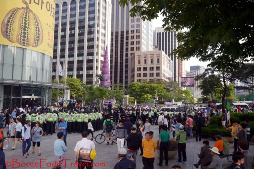The protest in Seoul was small and surrounded by police