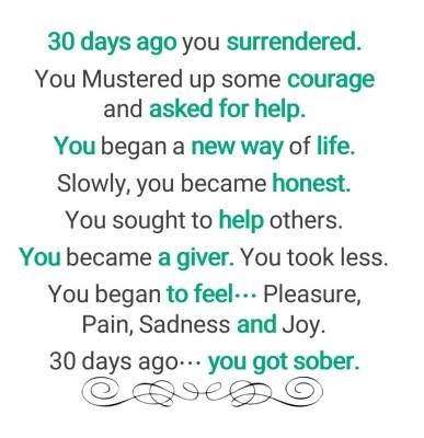 30 days sober text