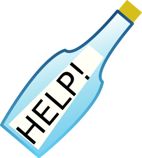 help message in a bottle, related with wine time