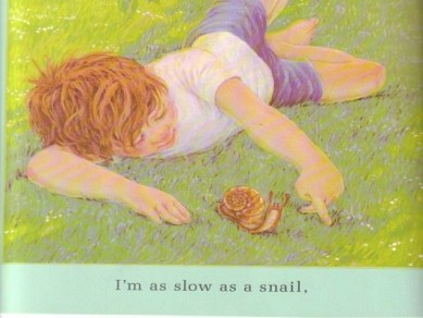 """children's illustration """"Slow as a snail"""", related to sobriety"""