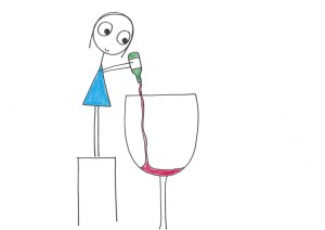 Giant wine glass with woman hoping to stop drinking