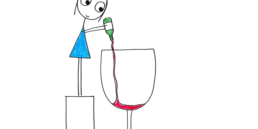 Giant wine glass with woman