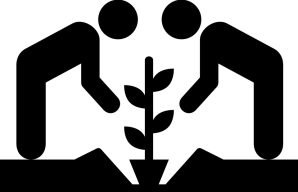 Two people planting together, related to community