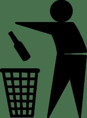 Don't Drink -Throwing Wine Bottle in Garbage