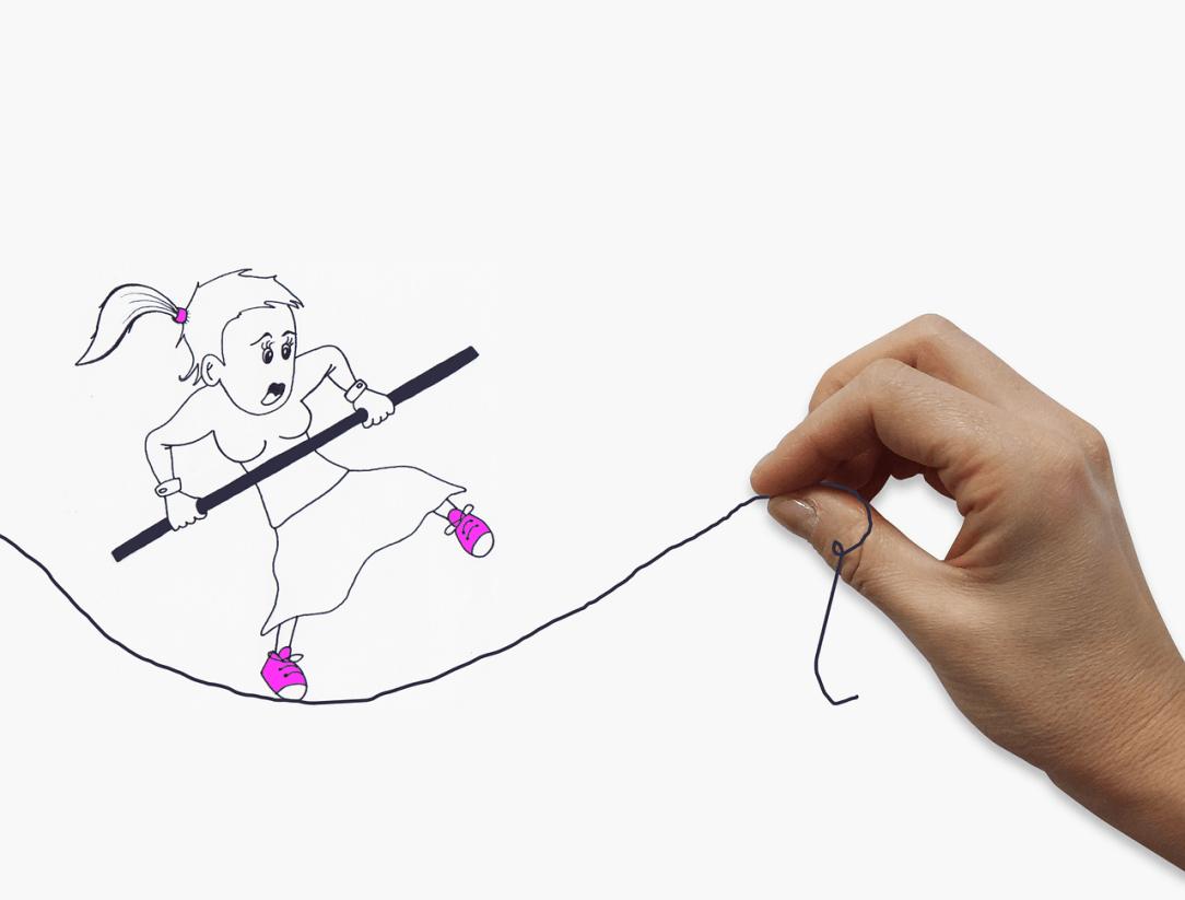 woman walking tightrope