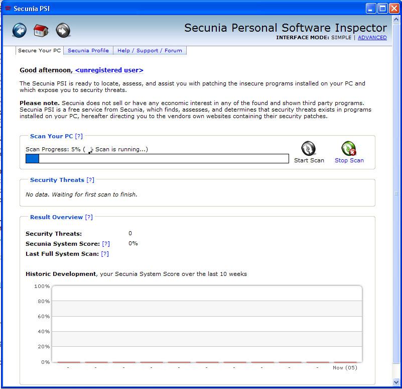 Scan avec Personal Software Inspector de Secunia