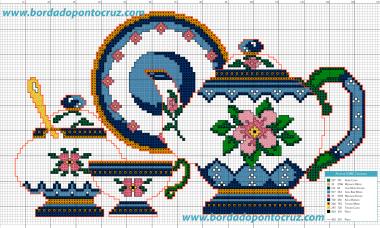 jogo cozinha bordado em ponto cruz bule e xicaras azul