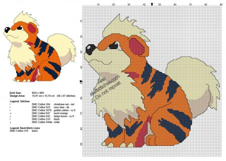Growlithe Pokemon ponto cruz