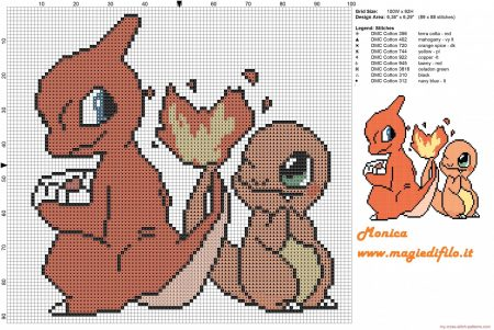 charmander e charmeleon Pokemon ponto cruz