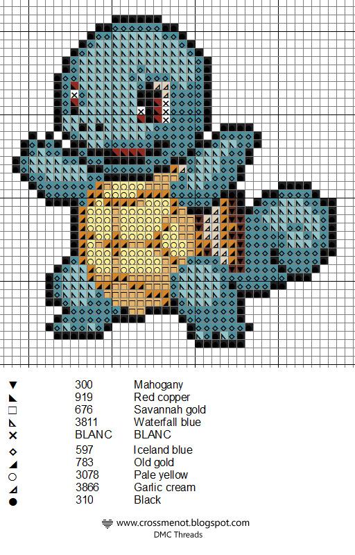 squirtle Pokemon ponto cruz