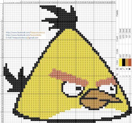 Angry Birds Passaro Amarelo 03 em ponto cruz