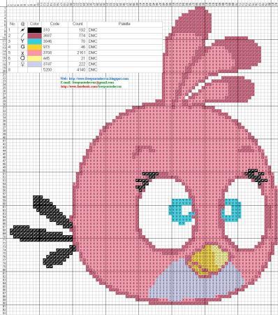 Angry Birds Passaro Rosa 01 em ponto cruz