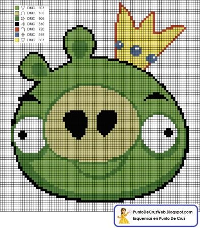 Angry Birds Porco Verde 03 em ponto cruz