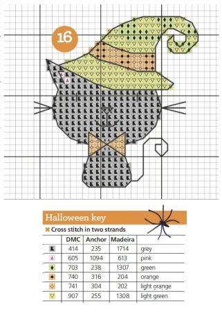 Gato Halloween em ponto cruz 03