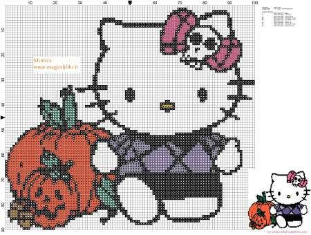Hello Kitty no Halloweeen em ponto cruz 02
