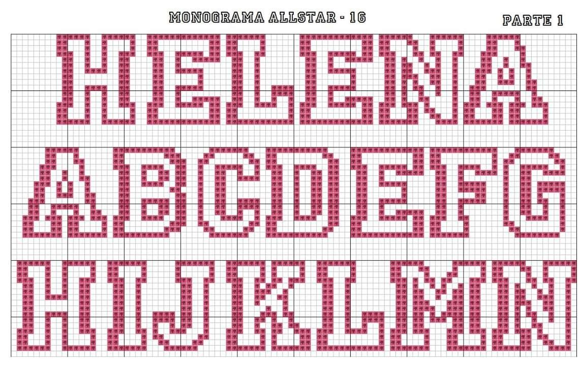 Monograma Alfabeto All Star Vazado Maiusculo BordadoPontoCruz com 01
