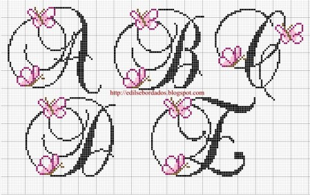 Monograma borboleta delicada em ponto cruz 1