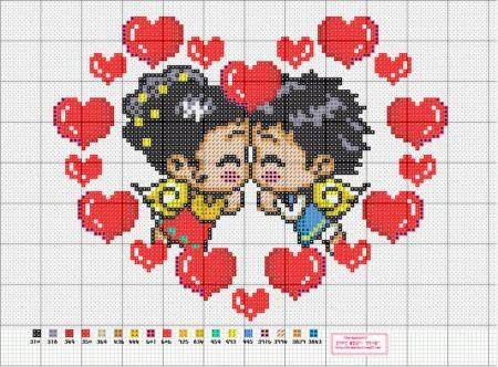 Namorados Apaixonados Casal Soda motivo Anjinhos com Corações