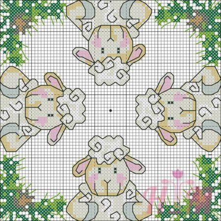 colecao de ovelha em ponto cruz 30