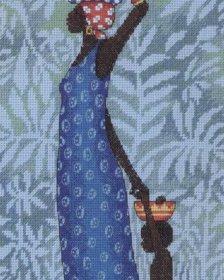Quadro Mãe Africana com Filho BordadoPontoCruz 01