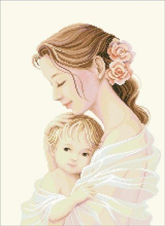 Quadro Mãe segurando Bebê Delicado BordadoPontoCruz 01