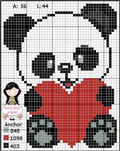 Urso Ursinho Panda BordadoPontoCruz 009