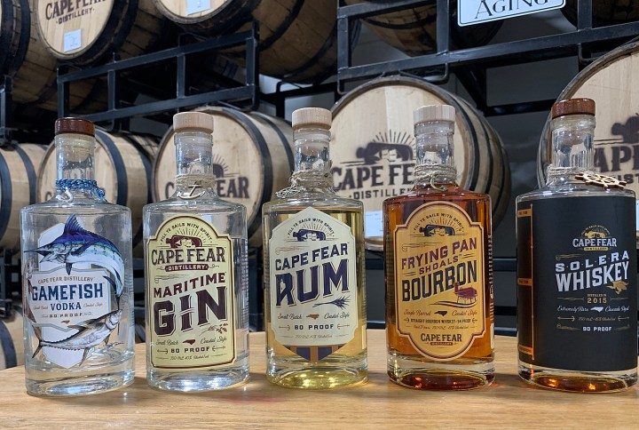 Cape Fear Distillery has a wide variety of spirits many with a theme that pays tribute to the Cape Fear River region.