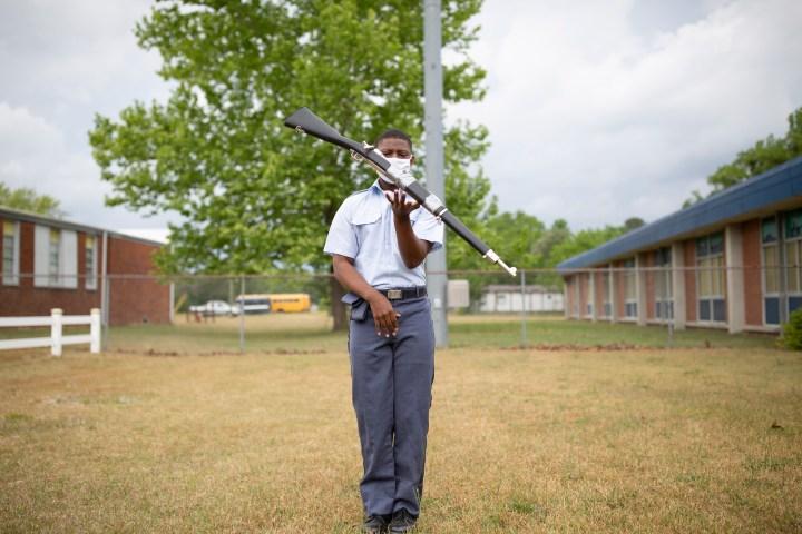 Tenth-grader Kalil Bellamy practices drills  at Paul R. Brown Leadership Academy in Elizabethtown, N.C.