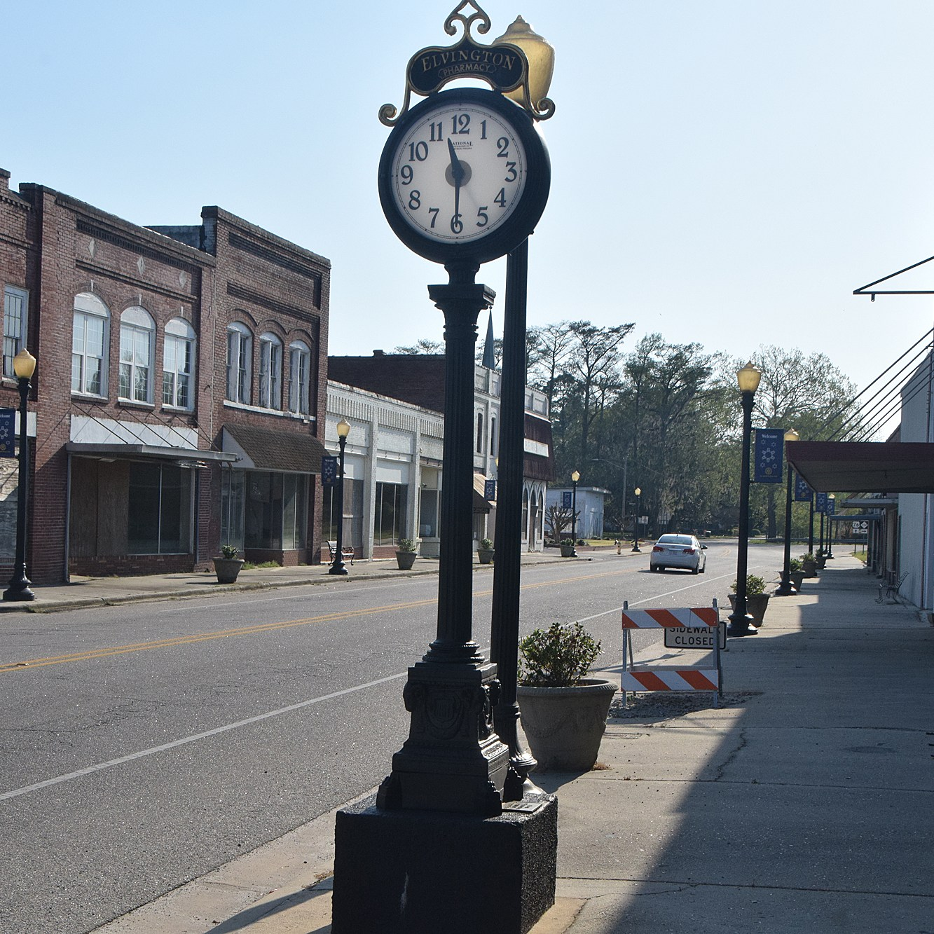The town clock in abandoned downtown Fair Bluff