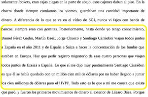 El vuelo de Carradori con Báez, según Fariña.