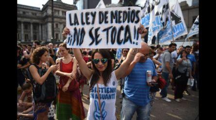 Protestas por la ley de medios.