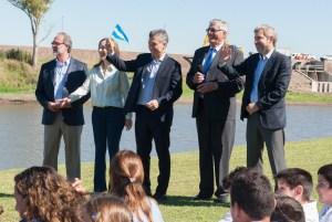 Macri estuvo este martes en el lanzamiento de una obra con Vidal, Frigerio y Chaín.