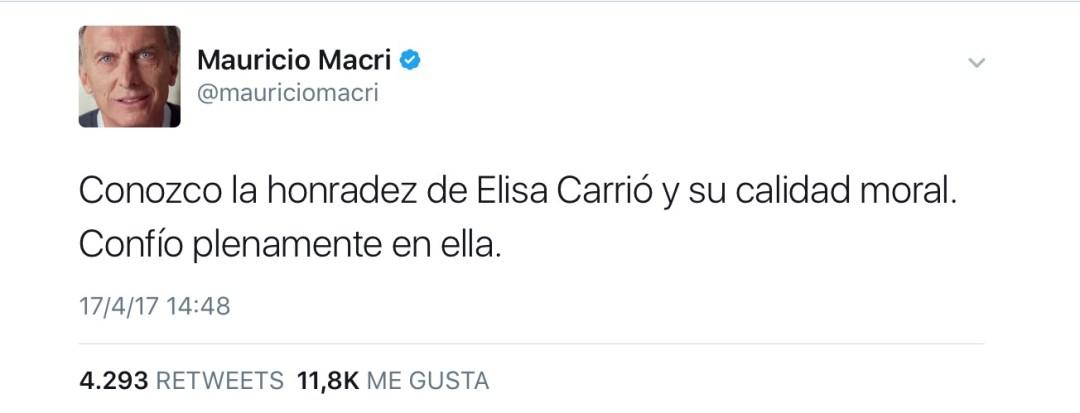 Macri salió a defenderla