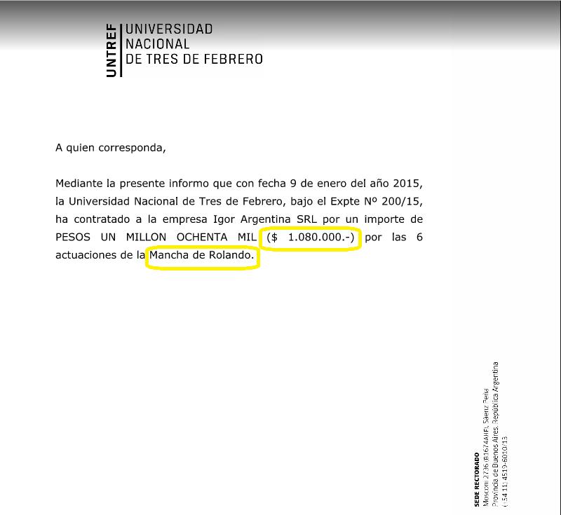 Los pagos de la UNTREF a La Mancha de Rolando.
