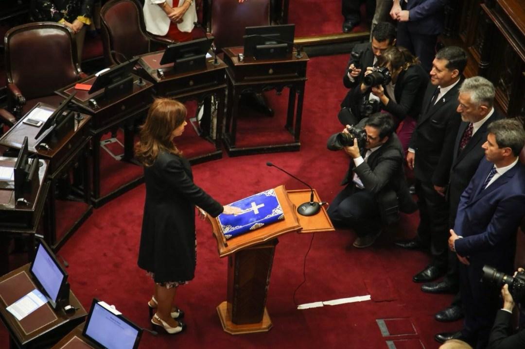 Cristina, en su jura como senadora.